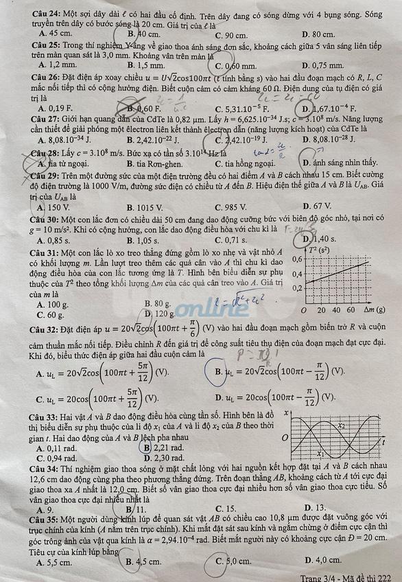 Đề và bài giải môn vật lý kỳ thi tốt nghiệp THPT 2020 - Ảnh 3.