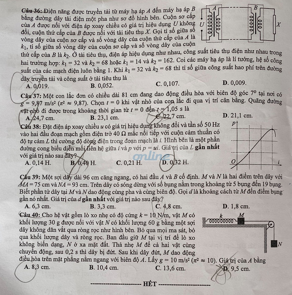 Đề và bài giải môn vật lý kỳ thi tốt nghiệp THPT 2020 - Ảnh 4.