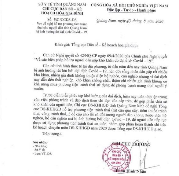 Quảng Nam yêu cầu thu hồi công văn xin thuốc, vòng tránh thai - Ảnh 1.