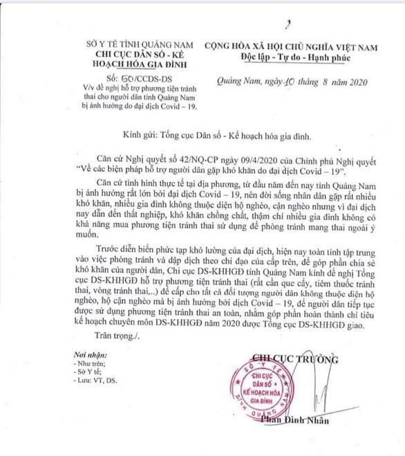 Quảng Nam xin hỗ trợ que cấy, thuốc, vòng tránh thai... cho người dân bị ảnh hưởng COVID-19 - Ảnh 1.