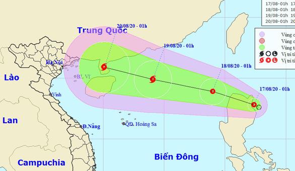 Rạng sáng 17-8, áp thấp nhiệt đới hướng vào Bắc Biển Đông, khả năng thành bão - Ảnh 1.