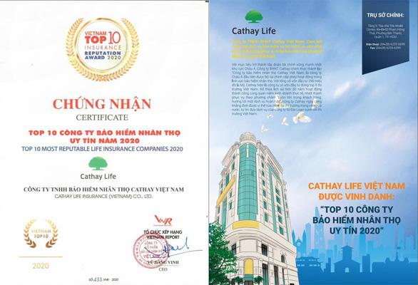 Cathay Life Việt Nam được vinh danh TOP 10 công ty bảo hiếm nhân thọ uy tín - Ảnh 1.