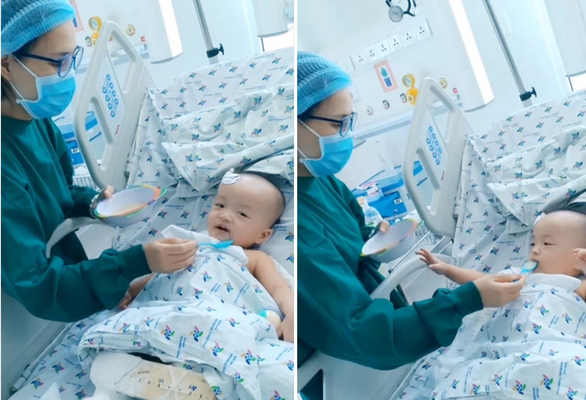 Nhìn Trúc Nhi - Diệu Nhi háo hức ăn cháo thịt sau ca đại phẫu, trái tim bác sĩ tan chảy - Ảnh 1.