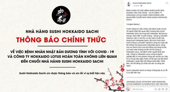 Nhà hàng Sushi Hokkaido Sachi không liên quan bệnh nhân COVID-19  - Ảnh 2.