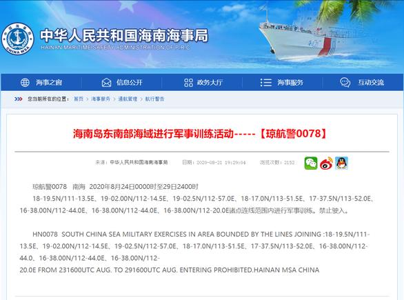 Trung Quốc ngang nhiên thông báo tập trận lớn ở Hoàng Sa - Ảnh 1.