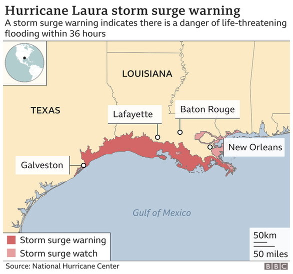Cơn bão nguy hiểm Laura mạnh lên, nửa triệu người Mỹ được yêu cầu đi sơ tán - Ảnh 2.
