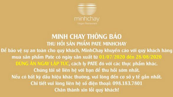Vụ pate Minh Chay gây độc: Yêu cầu dừng sản xuất từ 20-8, nhưng 9 ngày sau mới công bố - Ảnh 1.
