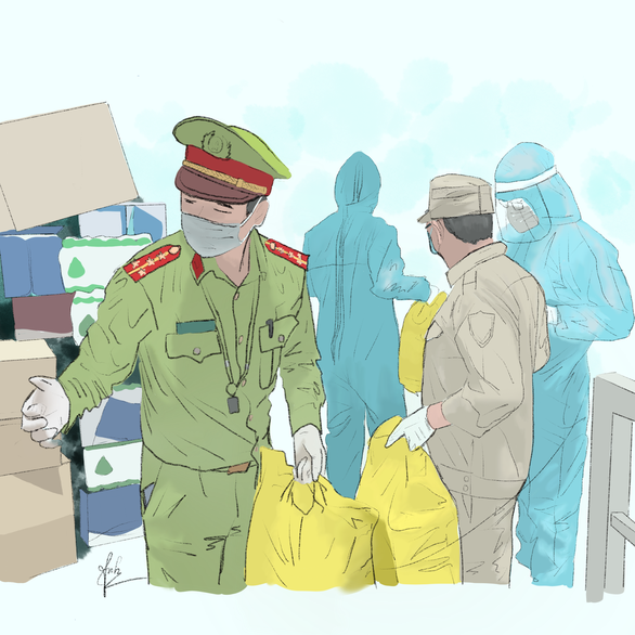 Cảm động bộ tranh chiến sĩ áo trắng, áo xanh chống dịch của sinh viên Đà Nẵng - Ảnh 4.