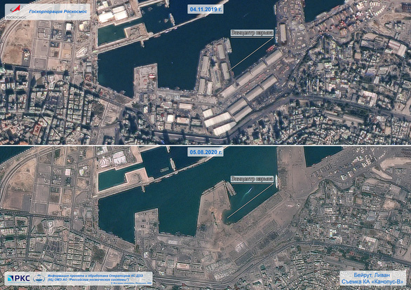 Khó ai nhận ra cảng Beirut trước và sau vụ nổ thảm khốc qua ảnh vệ tinh - Ảnh 4.