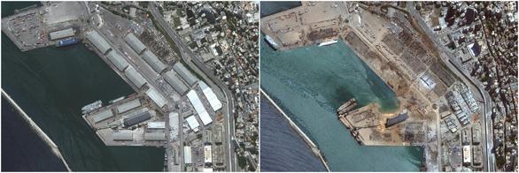 Khó ai nhận ra cảng Beirut trước và sau vụ nổ thảm khốc qua ảnh vệ tinh - Ảnh 2.