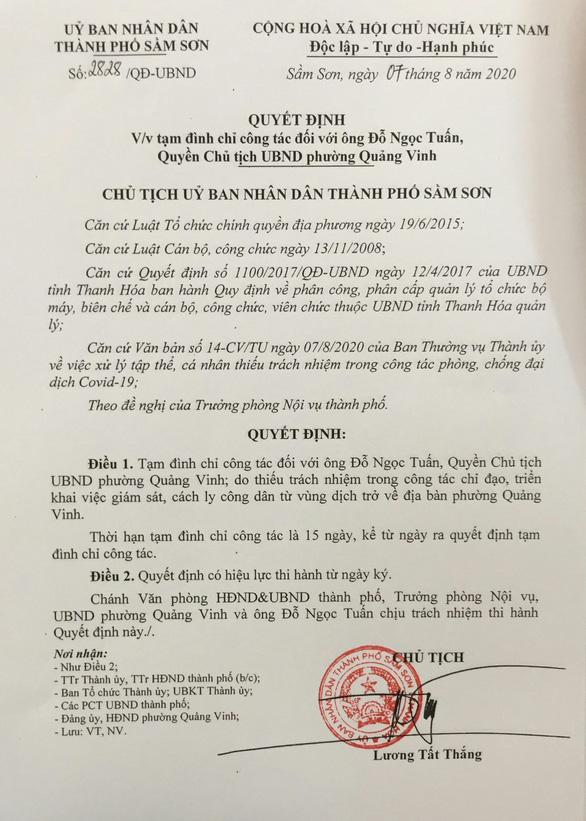 Để người diện cách ly COVID-19 tiếp xúc lung tung, kỷ luật quyền chủ tịch phường - Ảnh 2.