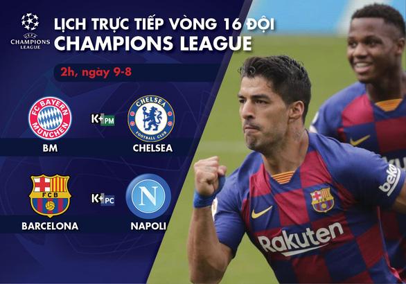 Lịch trực tiếp vòng 16 đội Champions League sáng 9-8: Tâm điểm Barca - Napoli - Ảnh 1.