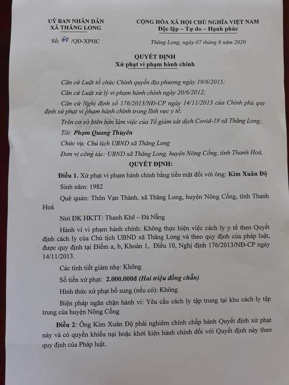 Xử phạt người từ Đà Nẵng về quê không chịu cách ly tại nhà - Ảnh 1.