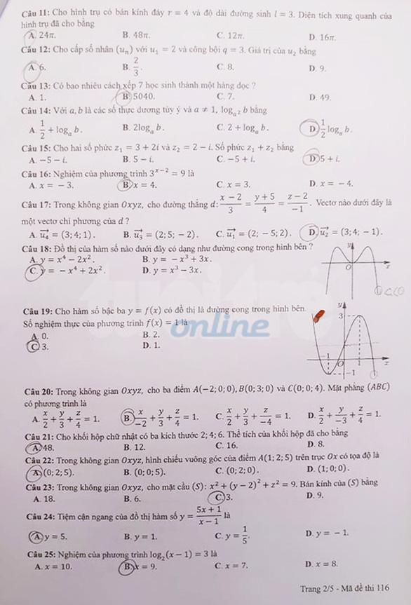 Gợi ý bài giải môn toán thi tốt nghiệp THPT 2020 - đủ 24 mã đề - Ảnh 2.