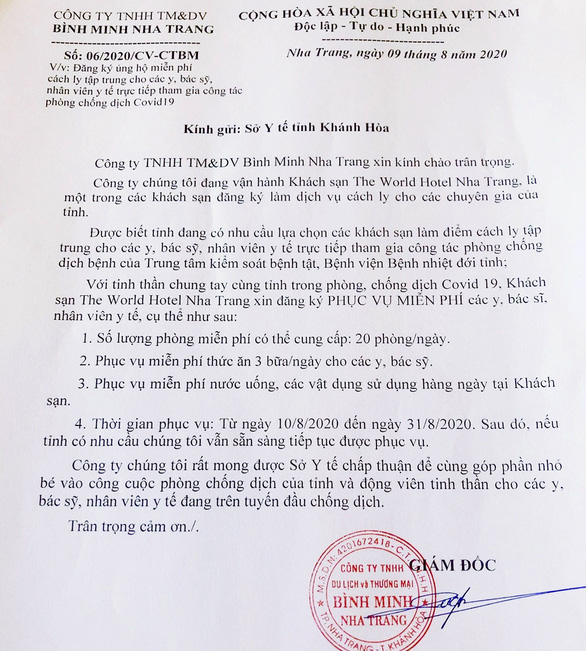 Khách sạn ở Nha Trang xung phong cấp chỗ ăn ở cho thầy thuốc chống COVID-19 - Ảnh 2.