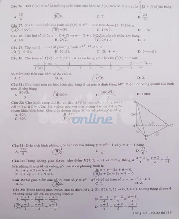 Gợi ý bài giải môn toán thi tốt nghiệp THPT 2020 - đủ 24 mã đề - Ảnh 3.