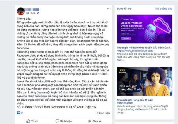 Nhiều người lại bị tin giả lừa 'tôi không đồng ý cho Facebook chia sẻ ảnh hoặc tin' - Ảnh 1.