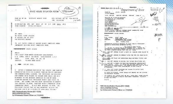 Tài liệu giải mật về cam kết bảo đảm an ninh cho Đài Loan của Mỹ có gì? - Ảnh 1.