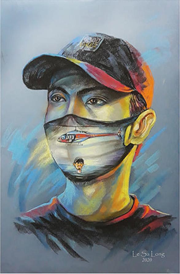 Đen Vâu, Chi Pu đeo khẩu trang trên tranh của Lê Sa Long - Ảnh 2.