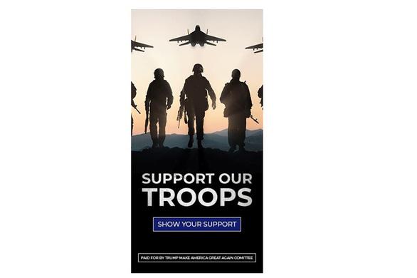 Quảng cáo ủng hộ ông Trump bị phát hiện xài... hình ảnh lính Nga - Ảnh 1.