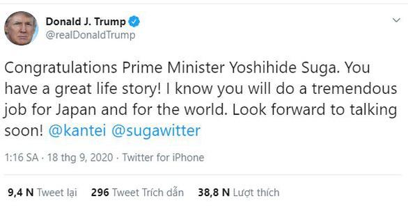 Ông Trump khen tân thủ tướng Nhật có chuyện đời tuyệt vời - Ảnh 1.