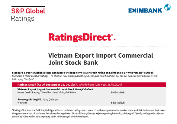 Eximbank được đánh giá tín nhiệm cao - Ảnh 1.