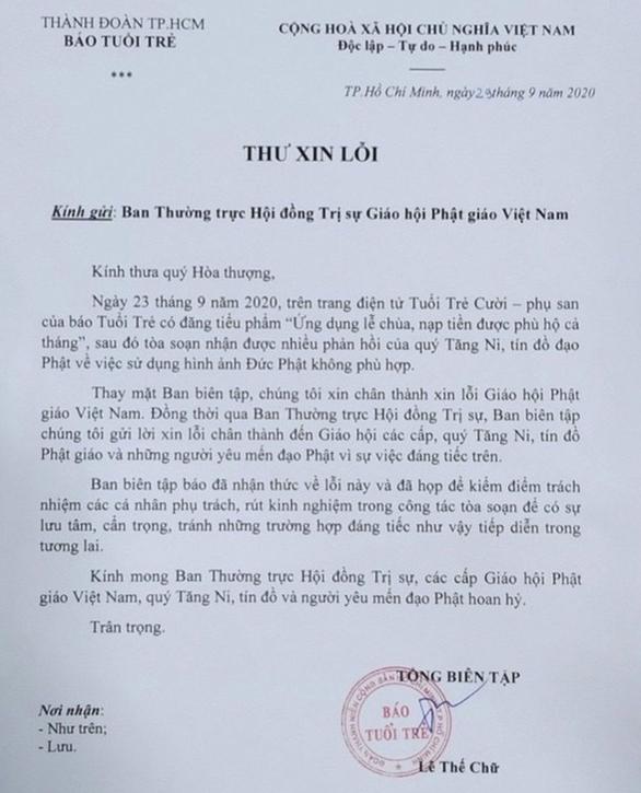 Ban biên tập báo Tuổi Trẻ xin lỗi Giáo hội, Tăng Ni, Phật tử - Ảnh 1.