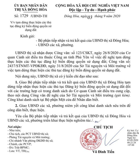 Tạm dừng đăng ký biến động 1.156 thửa đất tại thị xã Đông Hòa nghi sai phạm - Ảnh 1.