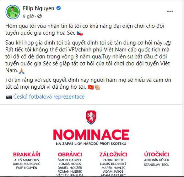 Thủ môn Việt kiều Filip Nguyen quyết định chọn tuyển CH Czech - Ảnh 1.