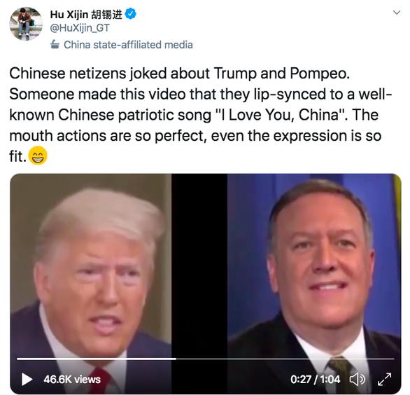 Dân mạng chế video ông Trump và ông Pompeo hát Tôi yêu bạn, Trung Quốc - Ảnh 1.
