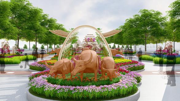 Đường hoa Nguyễn Huệ Tết Tân Sửu tái hiện trâu và cuộc sống ruộng đồng - Ảnh 7.