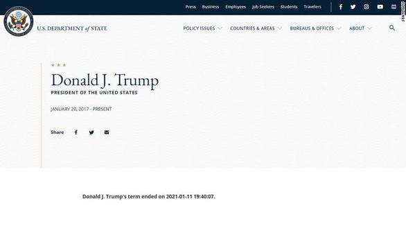 Trang web Bộ Ngoại giao Mỹ đăng nhầm tin ông Trump đã hết nhiệm kỳ - Ảnh 1.
