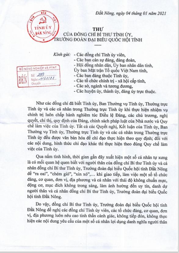 Bí thư Tỉnh ủy gửi thư cảnh báo tình trạng mượn danh mình để... ra oai, xin xỏ - Ảnh 2.
