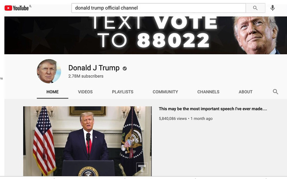 YouTube gia hạn lệnh cấm ông Trump thêm 7 ngày - Ảnh 1.
