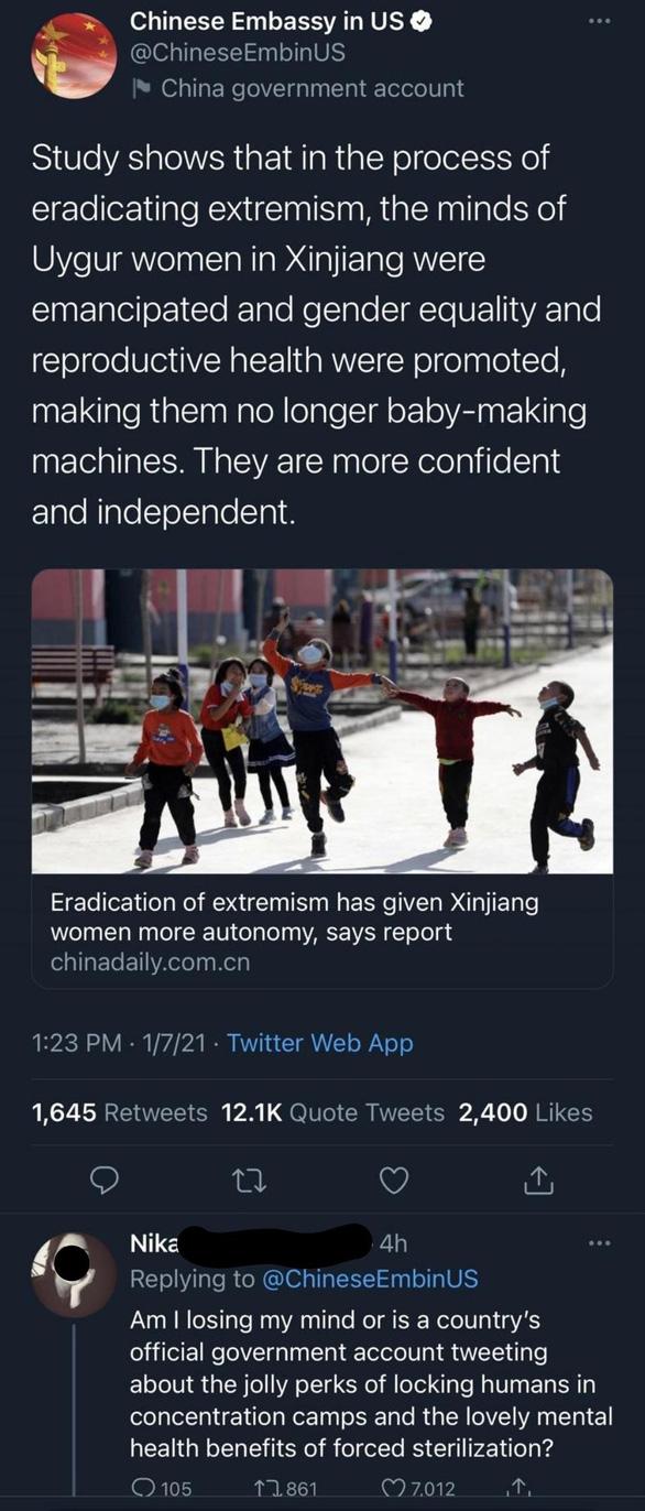 Twitter khóa tài khoản của đại sứ quán Trung Quốc tại Mỹ - Ảnh 2.