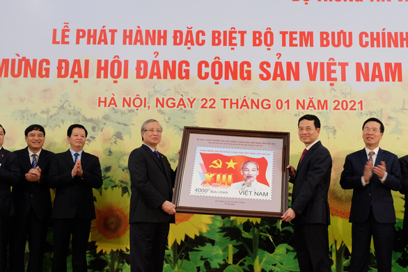 Phát hành bộ tem đặc biệt mừng Đại hội Đảng XIII - Ảnh 1.