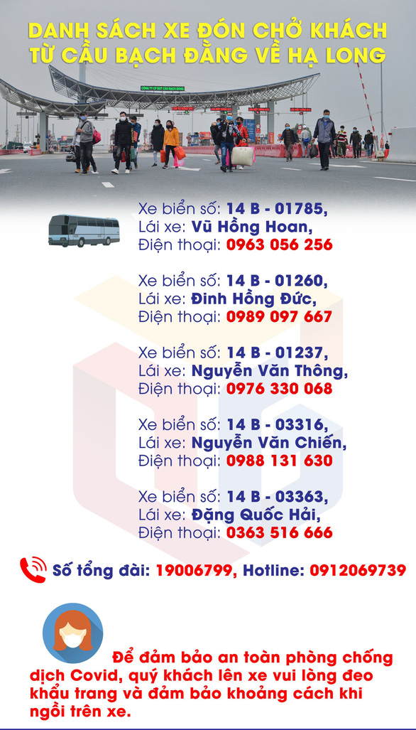 Cho phép 5 xe đưa người Quảng Ninh từ cầu Bạch Đằng về Hạ Long - Ảnh 3.