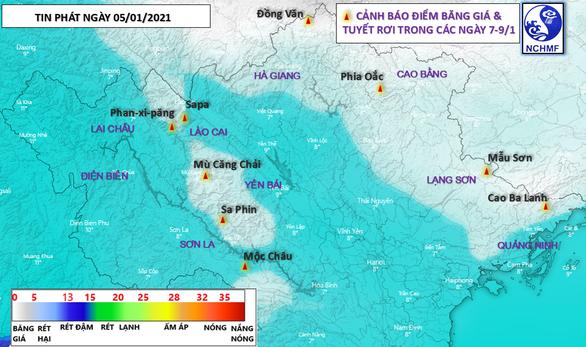 Có thể có mưa tuyết trên các đỉnh núi ở Lào Cai và Lai Châu - Ảnh 1.