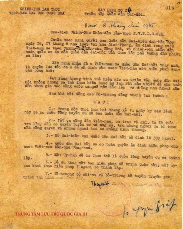 5 sắc lệnh về cuộc Tổng tuyển cử đầu tiên của nước ta - Ảnh 1.