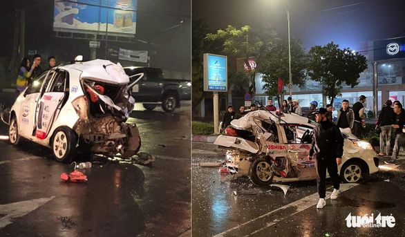 Nữ hành khách chết trong taxi bẹp dúm sau va chạm xe bán tải - Ảnh 1.