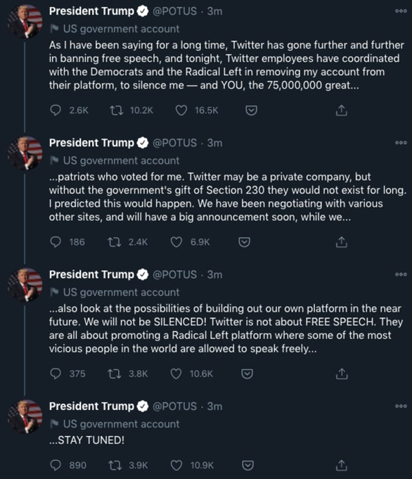 Tổng thống Trump muốn lập mạng xã hội riêng sau khi tố bị Twitter bịt miệng - Ảnh 2.
