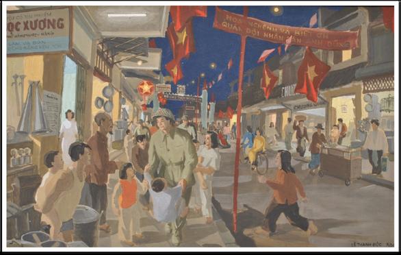 Ngắm Hà Nội đẹp tươi ngày giải phóng thủ đô trong tranh của nhiều danh họa - Ảnh 7.