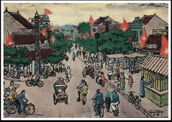 Ngắm Hà Nội đẹp tươi ngày giải phóng thủ đô trong tranh của nhiều danh họa - Ảnh 1.