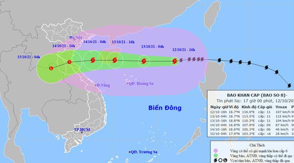 Bão số 8 hướng vào Thanh Hóa - Quảng Bình, suy yếu trước khi đổ bộ - Ảnh 1.