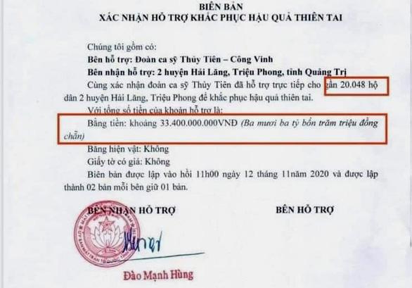 Khó xác định tổng số tiền ca sĩ Thủy Tiên trao ở Quảng Trị - Ảnh 1.
