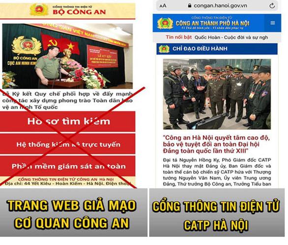Cảnh báo trang web giả mạo Công an Hà Nội đặc biệt nguy hiểm - Ảnh 1.
