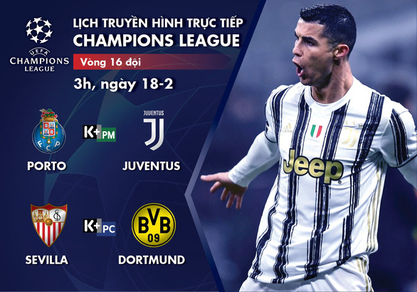 Lịch trực tiếp Champions League 18-2: Porto - Juventus, Sevilla - Dortmund - Ảnh 1.