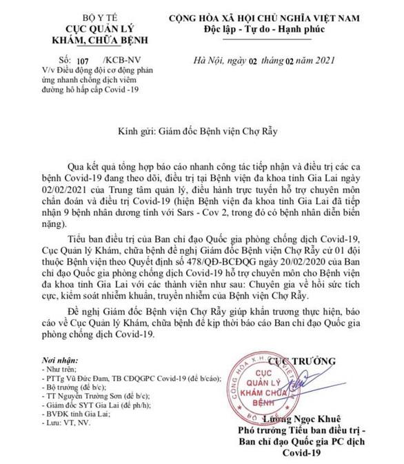 Bộ Y tế đề nghị BV Chợ Rẫy cử ngay đội phản ứng nhanh lên giúp Gia Lai - Ảnh 2.