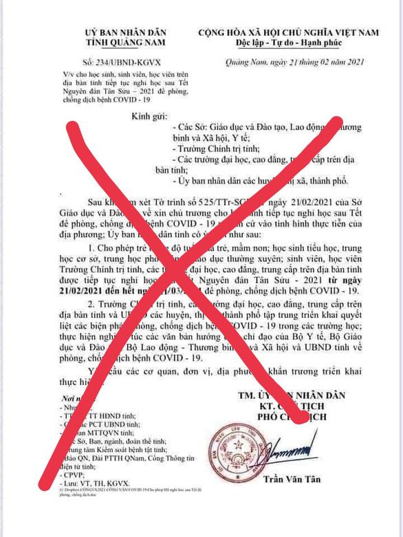 Học sinh cấp 2 làm giả văn bản cho nghỉ học của tỉnh, bị phạt cảnh cáo  - Ảnh 1.