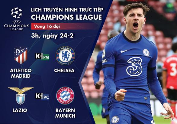Lịch trực tiếp vòng 16 đội Champions League: Atletico Madrid - Chelsea, Lazio - Bayern - Ảnh 1.